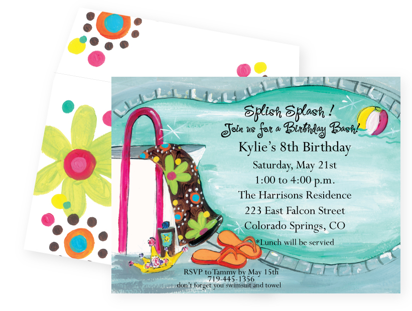 Girlie Pool Party Invitation - DISCONTINUEDGreat for a little princess pool party!  This fun little girls invitation has a great mix of colors and is designed with a pair of flip flops on the side of a pool with a beautiful bright floral towel hanging on the side of the deck along with suntan lotion and a tiara. The envelope is designed to match with bold flowers and polka dots that make this invitation so fun for your guests to receive!