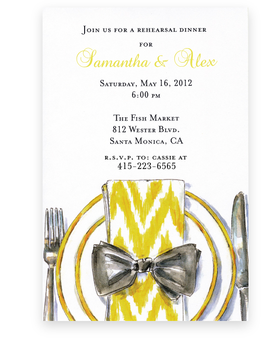 Fine Plate Invitation - This contemporary new design has an elegant placesetting complete with yellow and white dinner napkin tied with a grey bow.  An excellent choice for an Easter dinner or bridal luncheon!   Printed on premium quality 80 lb. cardstock and white envelopes are included. Available either blank or personalized.