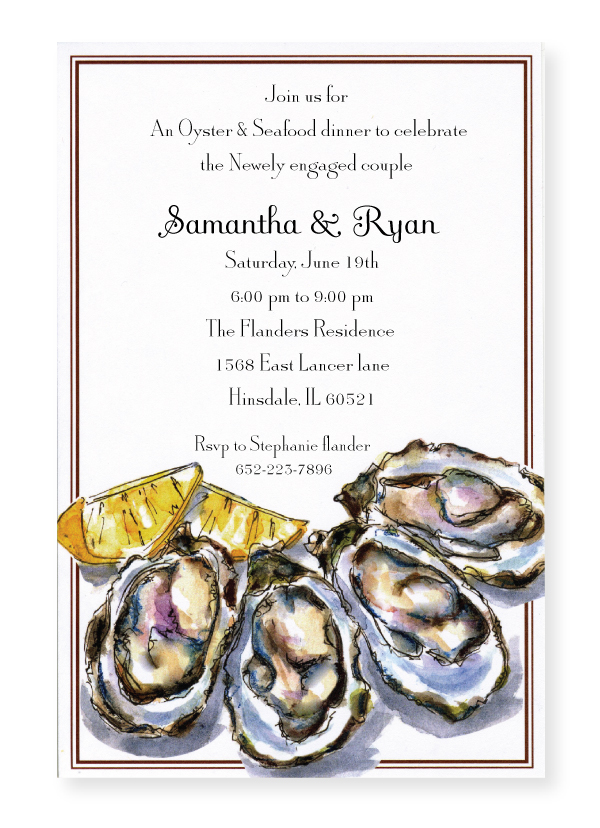 Oysters Invitation - Pearly oyster shells and yellow lemon wedges decorate this stylish invitation that is perfect for your next oyster roast or seafood boil!  Printed on premium quality 80 lb. cardstock and white envelopes are included. Available either blank or personalized.