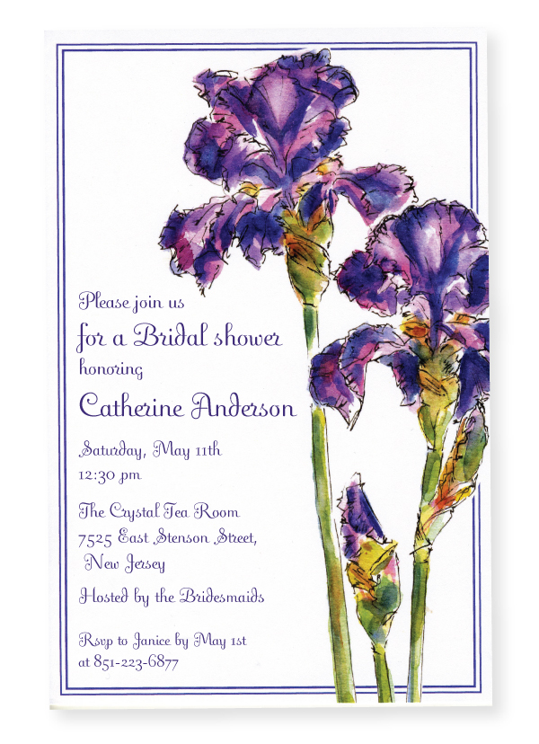 Elegant Iris Invitation - This stylish invitation has beautiful purple irises along the right side with a matching purple border around the card.  Perfect for a bridal luncheon or ladies get-together!  Printed on premium quality 80 lb. cardstock and white envelopes are included. Available either blank or personalized.
