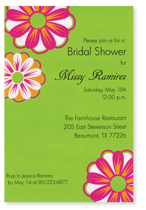 Floral Burst Invitation - This cheerful new design has pretty pink and orange flowers against a solid green background.  Perfect for a spring brunch or ladies luncheon!  Printed on premium quality 80 lb. cardstock and white envelopes are included. Available either blank or personalized.