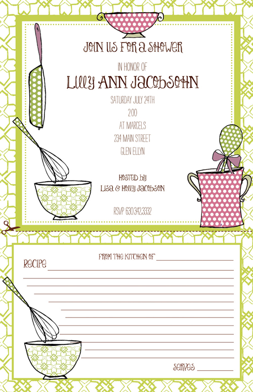 Cookingware Recipe card invitation  - This trendy new retro-inspired invitation by Bella Ink is sure to be a hit at your next party!  The top is decorated with kitchen utensils in fun green and pink patterns and the bottom half is printed with lines for your guests to write in their favorite recipes.  Perfect for a bridal shower or cooking party!  Printed on white card stock and coordinating envelopes are included.  Laser and Inkjet compatible.