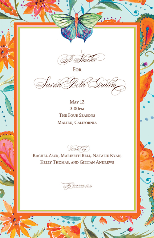 Butterfly Beauty Invitation - This beautiful new design by Bella Ink has a bright border of orange flowers against a soft green background, and a majestic butterly at the top of the personalization area.  Printed on white textured cardstock and coordinating envelopes are available.  Laser and Inkjet compatible.