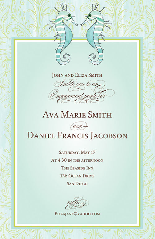 Seahorse Blue Invitation  - A pair of pale blue seahorses decorate this new Bella Ink design.  A soft gold pattern against the watercolor border creates a romantic look and there is a coordinating frame around your personalization area.  Printed on ivory textured heavy cardstock.  Coordinating envelopes are included.  Laser/Inkjet compatible.