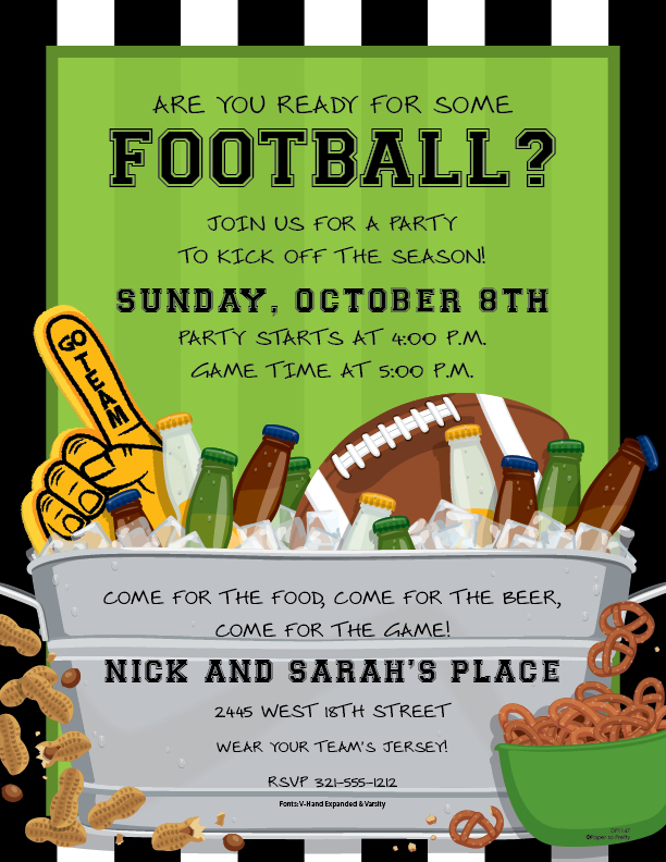 Football and Beer Laser Paper - Are you ready for some football?!  A bright yellow foam finger and football sit in a large bucket full of ice cold beer.  Perfect for a sports celebration or tailgate party! Envelopes are available, sold separately.