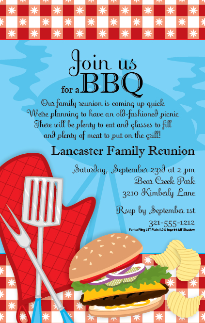 Quick View Pisn1152 Quot Bbq Party Invitation Quot