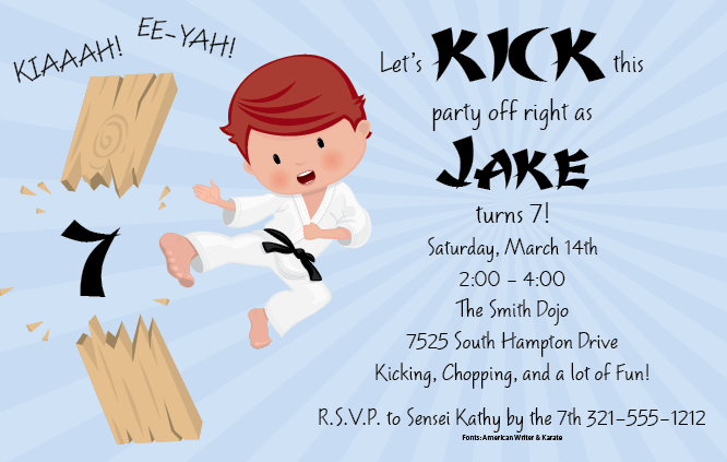 Karate Kid Invitation Kick Off Your Party Right This Fun Design Has A Young