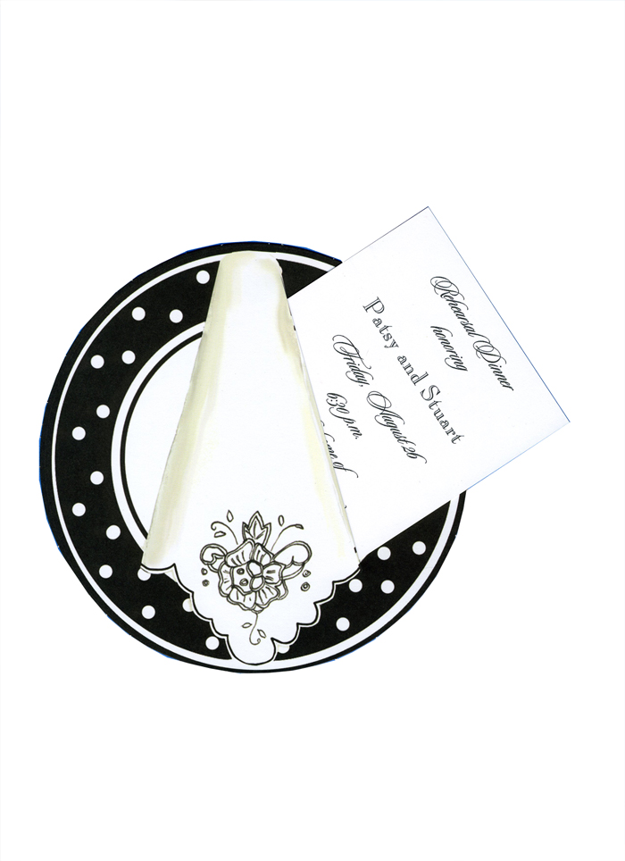 "Polkadot Dinner Plate Die Cut Invitation - This elegant die-cut invitation features a stylish black and white placesetting with a polka dot border around the plate and a fancy white napkin with decorative black flower and scalloped edge.  What a stylish way to announce a special dinner party or rehearsal dinner!  The white 3.5"" X 5.5"" card (for personalization) inserts easily into the pre-cut slot on the die-cut.  Add an extra touch with the optional glitter upgrade for .50 per card (please make a note in comments).  Includes white envelope."