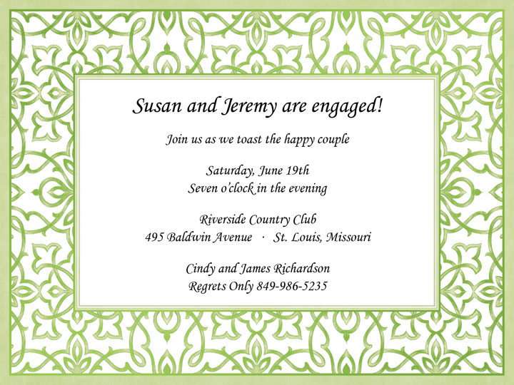 Ornate Beauty Invitation - This versatile invitation has a lovely green scroll patterned border with elegant green foil accents.  This is the perfect invitation for a bridal event or ladies luncheon.  Comes with a white envelope.