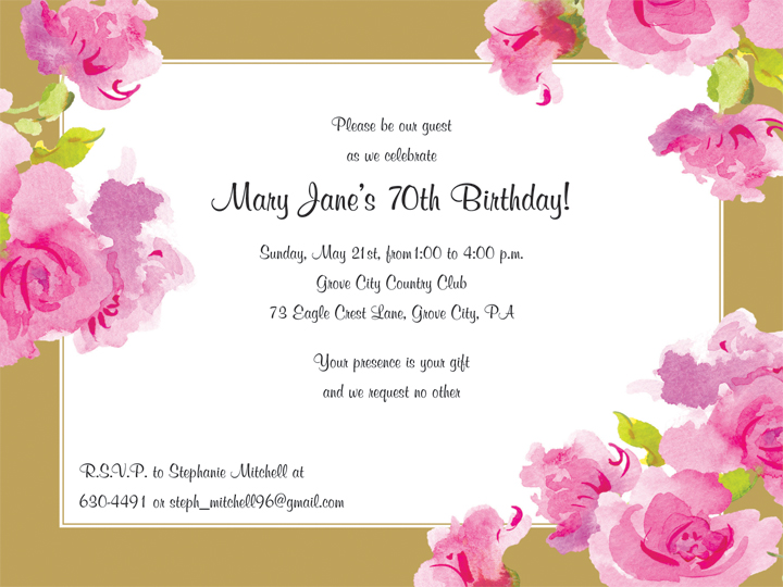 Grand Flora Invitation - This elegant invitation features beautiful pink flowers against a rich gold border.  Coordinating tableware is also available so start your celebration off right with these lovely invitations!  Envelopes are included.