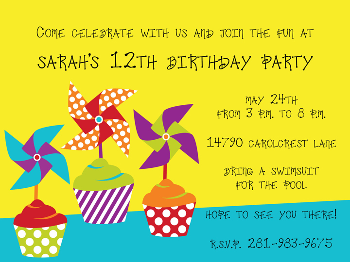 Pinwheel Party Invitation - This delicious invitation features three yummy cupcakes with brightly colored pinweels on top.  These fun polka dot and striped designs will get your party started!   Laser/Inkjet compatible or we can print them for you!  White envelopes are included.