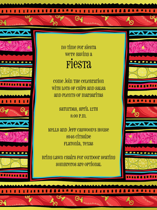 fiesta stripe invitation time for a fiesta this festive card has a vibrant border