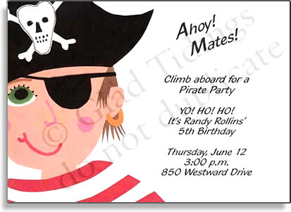 Black Patch Pirate - Premium quality cardstock includes coordinating envelope shown. Inkjet/laser compatible and available blank or personalized.