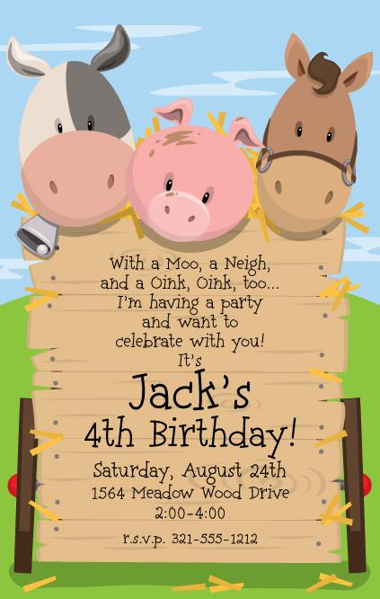 Farmyard Birthday Invitations for great invitation sample