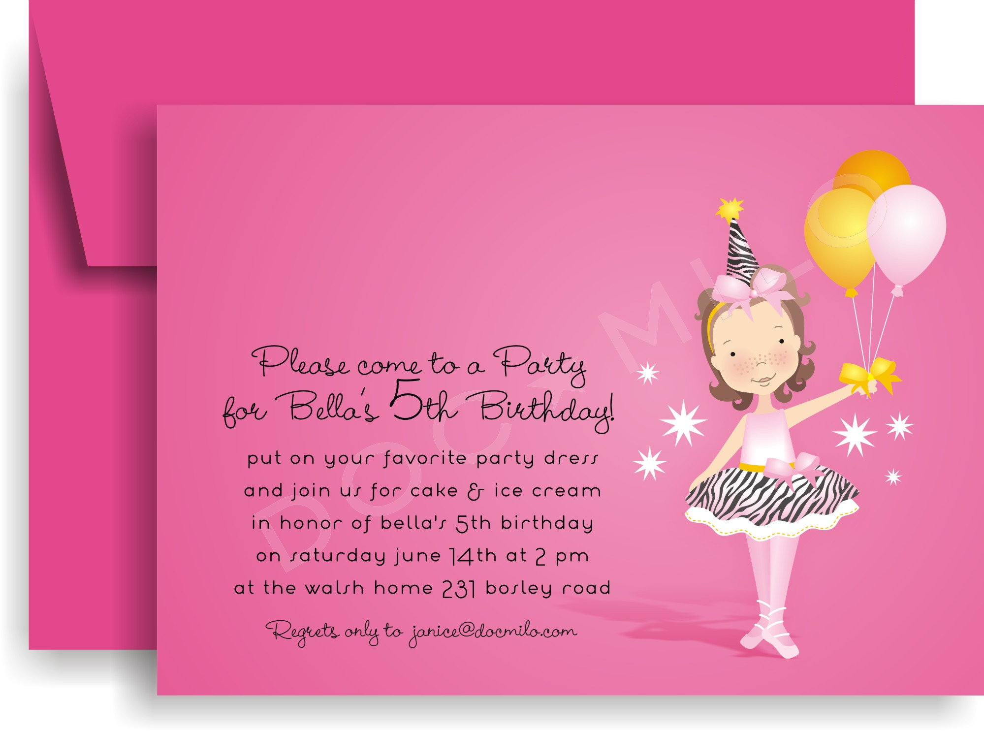 "Quick View - DM-IN-5013 - ""Bella Ballerina Invitation"""