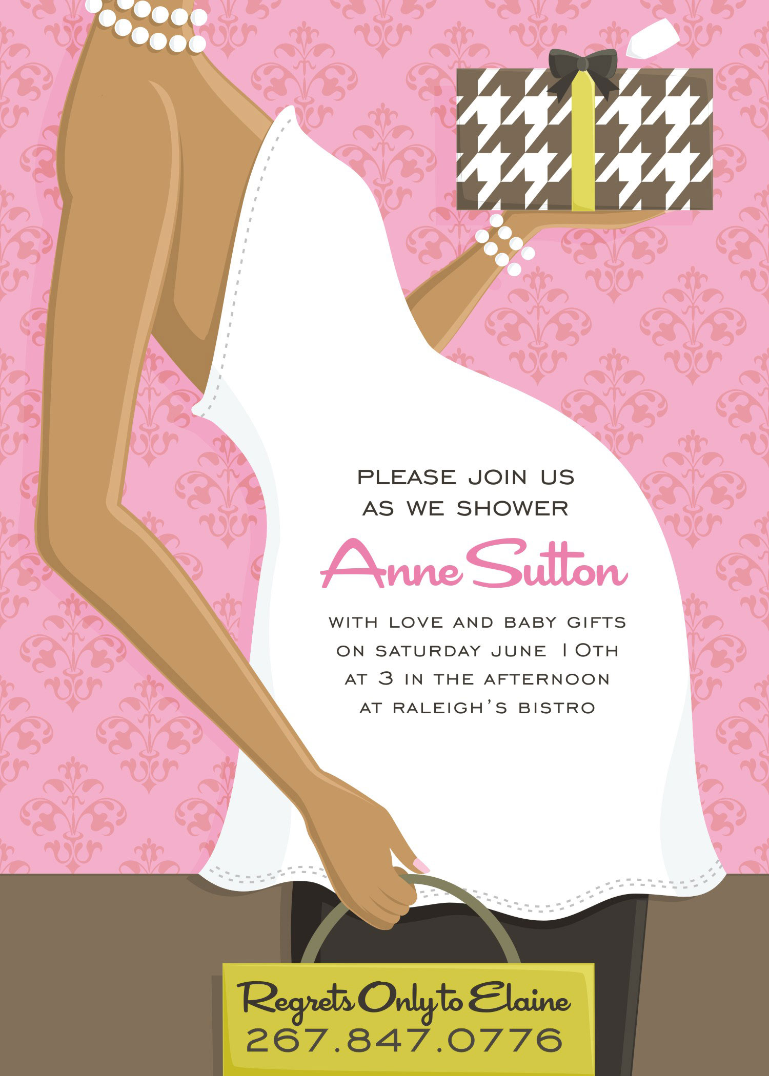 "Quick View DM IN 178 ""Belly Baby Shower Pink Invitation"""
