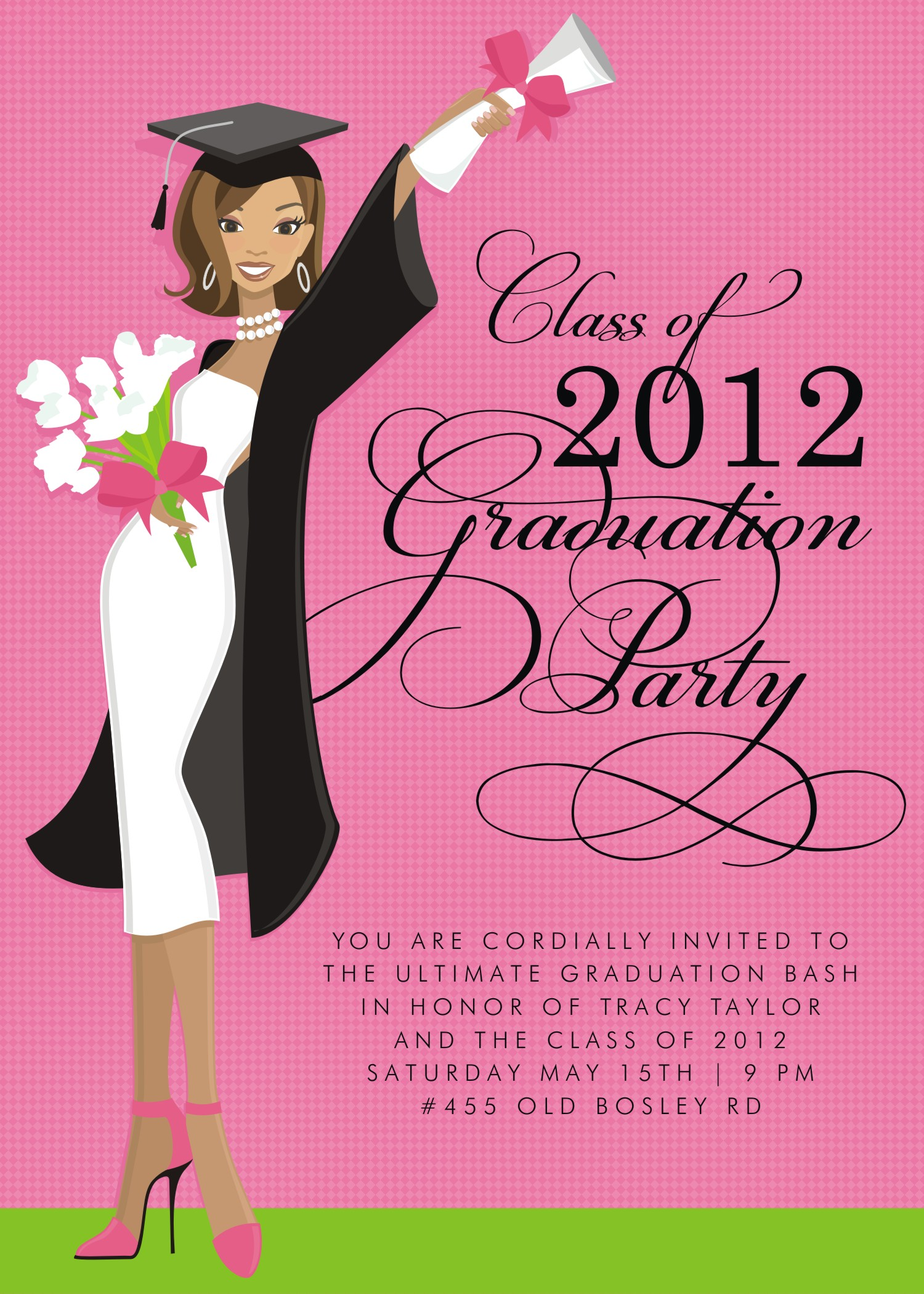 Quick View Dm In 295 Quot Glamour Girl Grad Invitation Quot