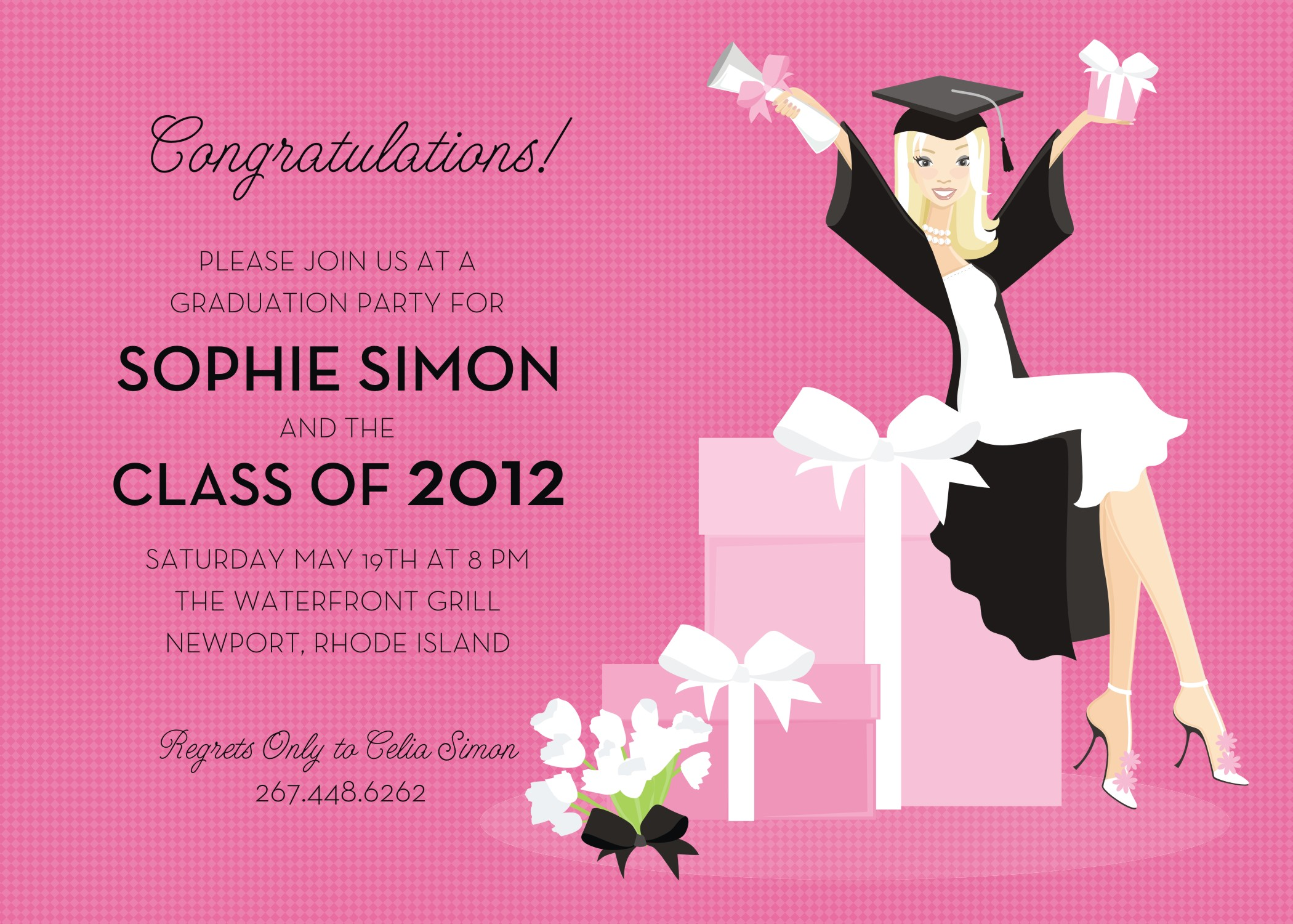 Quick view dm in 297 gift girl grad invitation blonde gift girl grad invitation blonde this contemporary design from the doc milo collection filmwisefo