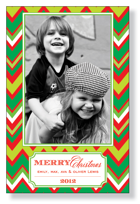 Holiday Chevron Photo Card  - This cheerful photo card is a fun way to share your holiday spirit this season!  A bright red and green chevron stripe surrounds your favorite photo and a decorative box for your text.  Includes white envelopes.  Simply attach your photo to the photo box.