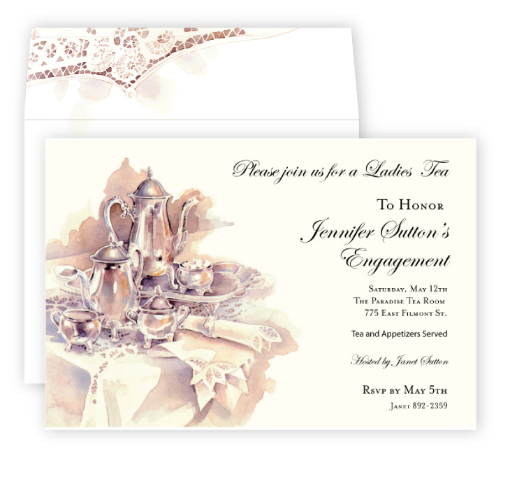 Silver Tea Invitation - This sophisticated design features a beautiful silver tea set that is printed on ivory card stock.  Perfect for a bridal tea party or a ladies tea time. Our premium quality cardstock is easy to print on your inkjet/laser printer or we can personalize them for you.  The designer coordinating envelope is included.