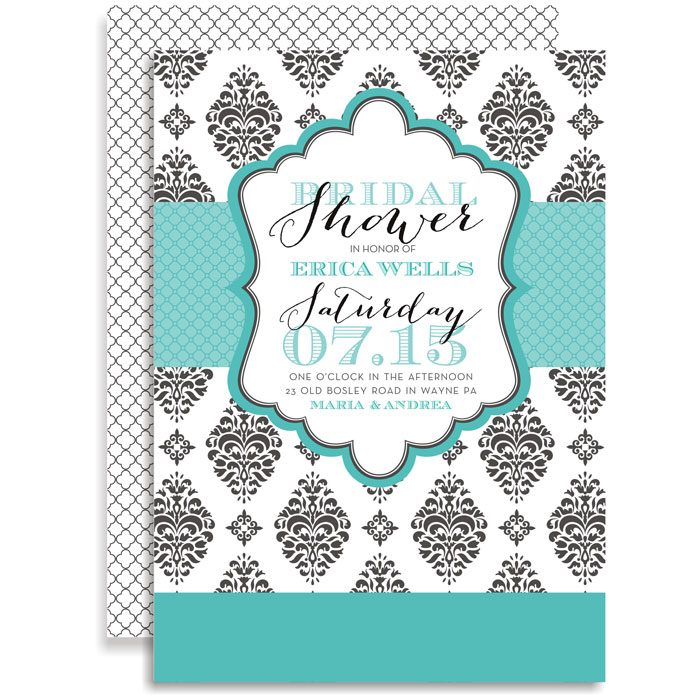 Sophisticated Turquoise Damask Invitation - This stylish design is ...
