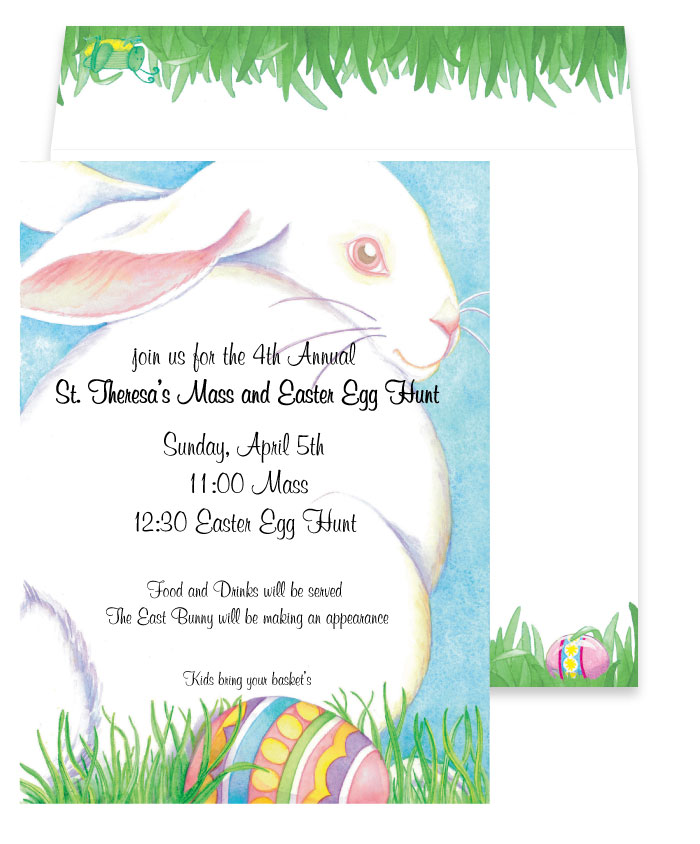 Bunny Cardstock - Easters on its way! Invite your loved ones to an Easter egg hunt this year with one of our most adorable invitations! This one shows a fluffy white bunny resting in the grass with a colorfully painted egg at its feet, with a blue sky background. It looks like this Easter Bunny is already hiding its eggs... be sure to snag this invitation before it hides that too!Premium quality cardstock includes coordinating envelope shown.  Inkjet/laser compatible and available blank or personalized.