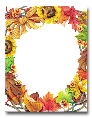 Harvest Wreath - This beautiful design features a border of crispy leaves, sunflowers and raffia in rich fall colors.  Our premium quality laser paper makes a great invitation for your autumn event!  Inkjet/laser compatible.Envelopes are sold separately.