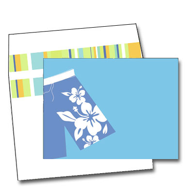 Surf Shorts - Surfs up!  This bright and colorful design features a pair of tropical-inspired board shorts against a sapphire blue background.  Perfect for your beach or pool party!  Available blank or personalized and the coordinating envelopes are included.