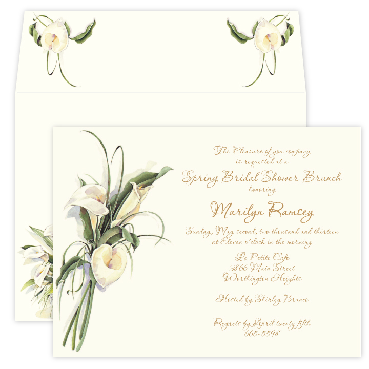 Calla Lilly - This beautiful deisgn features  elegant calla lilies with long green stems printed on premium quality ivory cardstock.  Perfect for a bridal event or ladies luncheon!  Available blank or personalized and the coordinating envelopes are included.