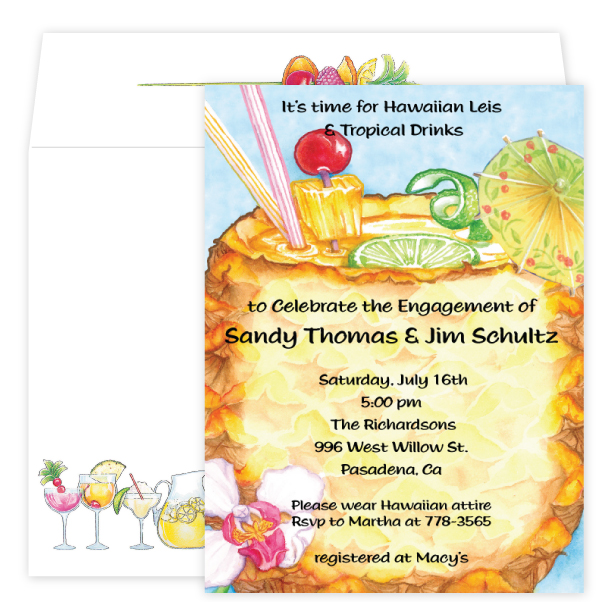 Mai Tai Invitation - This mouth-watering design features a colorful Mai Tai drink, with fruits and garnishings sticking out the top.  This drink is served in a cool pineapple glass with a tropical flower decorating the bottom corner.  Its a great choice for your tropical or island themed party!  Available blank or personalized and coordinating envelopes are included.