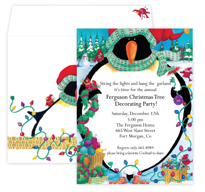 Penguin Invitation - This Peguin is ready for the Holidays!  A bright and fun invitation for a holiday party.  Designed with a big bright penguin on the front holding lights and garland to get ready for the holiday season.  perfect for a tree trimming party or holiday open house.  Includes a coordinating envelope.