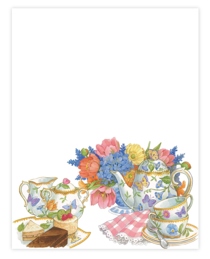 "Tea Paper - Afternoon tea and finger sandwiches are the perfect way to celebrate your event, and to theme your coordinating paper! Whether the occasion be a bridal tea, a birthday, or just a gathering of friends, this colorful paper with a tea set, flowers, and finger foods is an ideal choice. Make an impression with our premium quality designer 8 ½"" x 11"" paper & coordinating envelopes which are laser/inkjet compatible. Coordinating envelopes are sold separately."