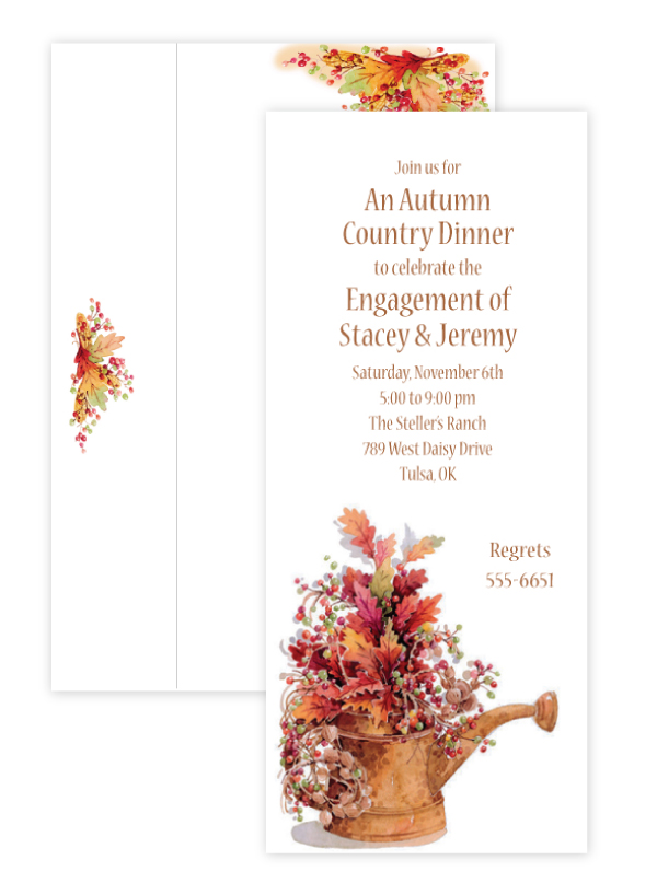 Fall Watering Can Slim Invitation - This stunning design features a rustic watering can filled with flowers that are the beautiful colors of Fall.  A coordinating border surrounds the card.  This invitation is perfect for every occasion this season!Printed on premium quality ivory cardstock and coordinating envelopes are included.