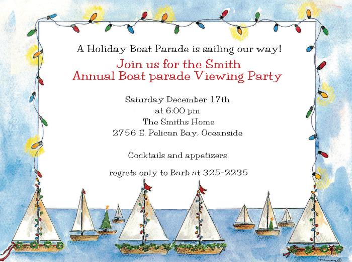 """Quick View - 48011 - """"Seasonal Sailing Boat Parade Invitation"""""""