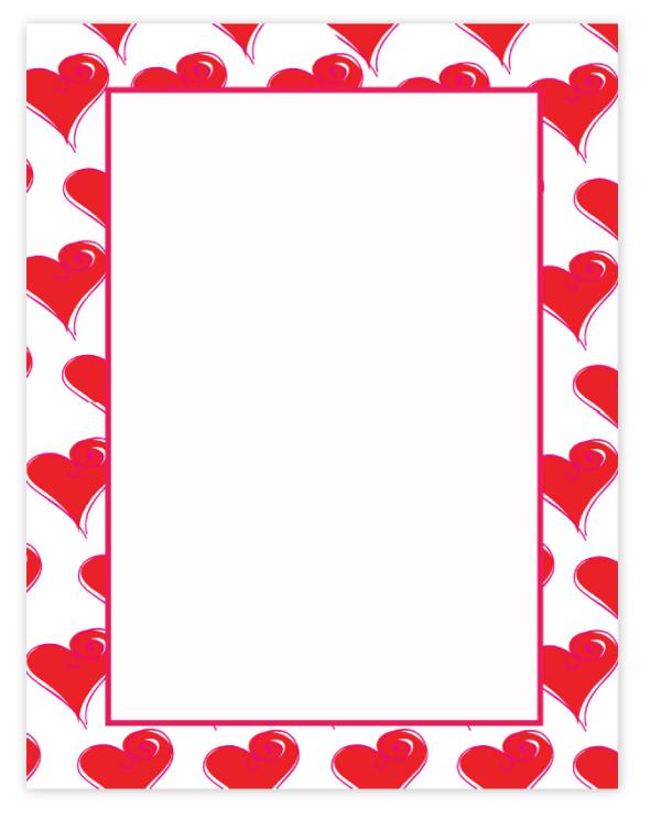 Pink Valentines Border Valentines day laser paper