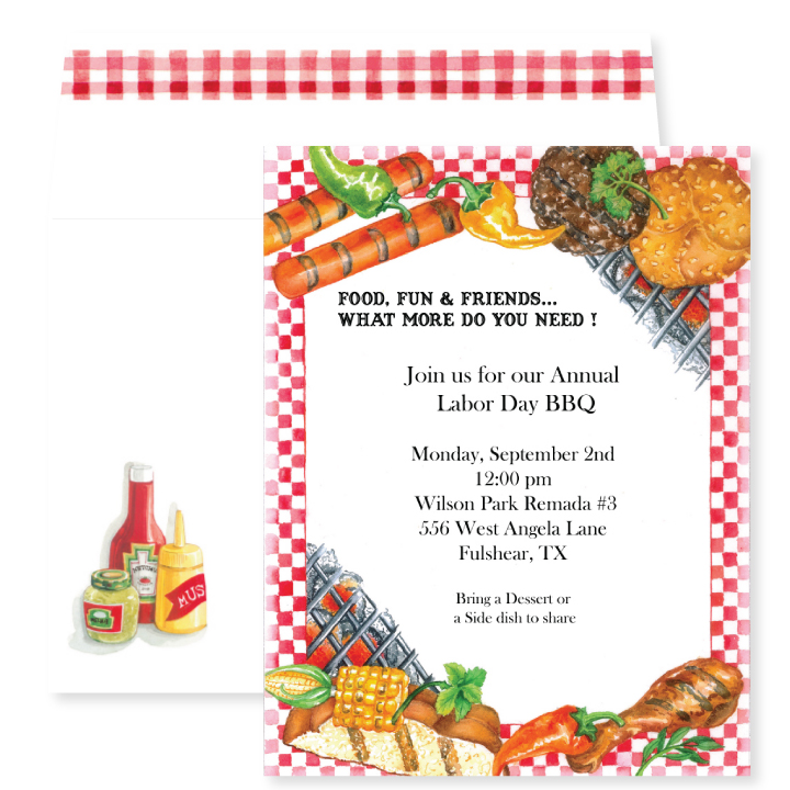 Hot Off The Grill - Everything you see is Hot off the Grill!  Yellow corn, hotdogs, hamburgers, and buns, fresh chili peppers, and even some chicken drums! With glowing hot coals and a red checkered picnic tablecloth border, this invitation will have the guests for your Summer barbeque drooling before they even arrive. And the coordinating envelope has you covered with all your condiments! Premium quality cardstock includes coordinating envelope shown. Inkjet/laser compatible and available blank or personalized