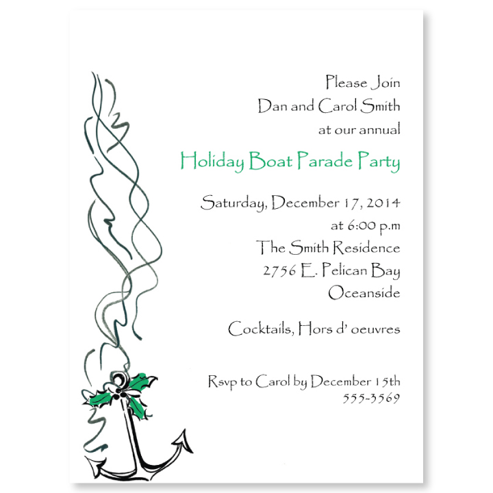 Holiday Boat Parade Anchor Invitation - This contemporary holiday card has a boat anchor with bright green holly accents.  Coordinating envelope is included.  Both are easy to print on your laser/inkjet printer or let us print them for you!