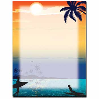 Endless Summer Laser paper  - Surfing laser paper, hawaiian laser paper.  Our desktop/EZ-print papers are a cinch for you to print on your inkjet/laser printer. Coordinating envelopes sold separately.