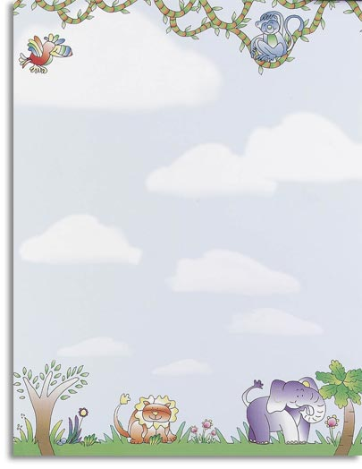 Jungle Animals Letterhead - Cute and cuddley, this jungle animal paper has a colorful monkey, tropical bird, lion, and elephant all with friendly smiles. They are surrounded in an adorable jungle scene with a cloudy sky background. Enjoy this fun kid paper for any event or occasion! Our desktop/EZ-print papers are a cinch for you to print on your inkjet/laser printer. Dont forget the coordinating #10 size envelope shown. (NOT AVAILABLE PERSONALIZED)