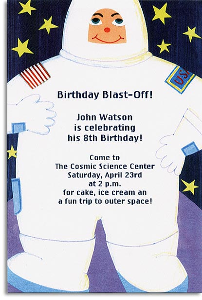 Astronaut - This fun invitation is a great way to blast off your next event!  Printed on premium quality cardstock and envelopes are included. Inkjet/laser compatible and available blank or personalized.