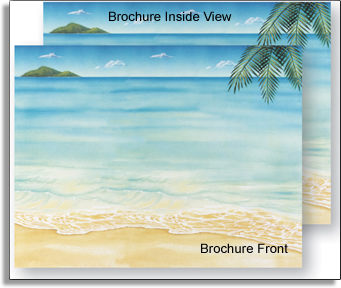 Tropical Tri-Fold Brochure - Our easy to print tri-fold brochures have a design as shown on both sides of the paper.  The brochure is scored for easy folding & inkjet/laser compatible for simple printing on your printer.Additional quantities are available beyond quantities shown on the price list.Coordinating items also available.