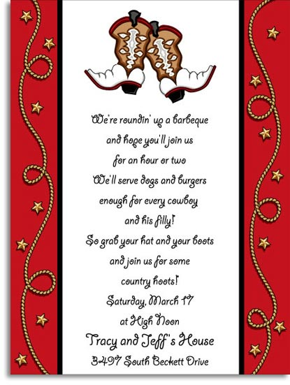 Dancin Boots Digital Invitation - This fun Western themed invitation features a pair of cowboy boots in the center with curling ropes along a bright red border. Perfect for your Wild West themed party or celebration! Digitally printed for crisp, clear color on premium quality cardstock.  Available personalized only. Includes white envelope.  *This product is only sold Personalized because it is a digital invitation.