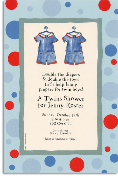 Twin Sailor Suits - With two matching outfits against a colorful polka dot border, this card is too cute to be for just one! In blues, red, and ivory, this twin design card is great for birth announcements or little ones birthdays. Trendy design printed on premium fine quality 80 lb. IVORY cardstock. Available either blank or personalized. Includes ivory envelope.