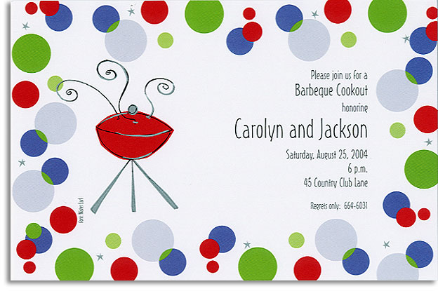 Retro Cookout - This retro design with blue, green, red, and silver polka dotted border surrounding a smoking grill is a hip choice.  Great for any cookout or summer BBQ get together. A trendy design printed only on premium fine quality 80 lb. card stock. Available either blank or personalized. Includes white envelope.