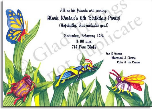 Bug Life - Premium quality cardstock includes coordinating envelope shown. Inkjet/laser compatible and easy to print.