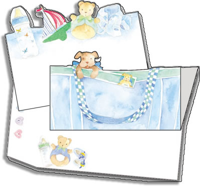 Blue Bear Diaper Bag - ON SALE!Celebrate your event with our trendy and colorful die-cut/insert invitation cards.  The imprintable die-cut flat card inserts into the coordinating fold over card to complete the design.Includes envelope with coordinating design.