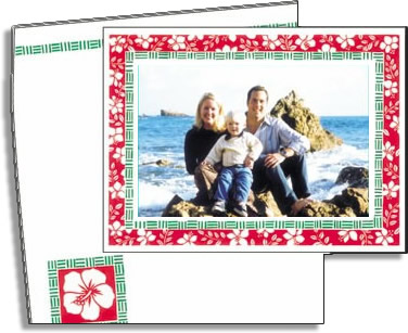 "Hibiscus Photocard - Vertical or Horizontal photo to max size 4"" x 6"" attaches to the front of the card with self adhesive strip. Coordinating designed envelopes are included.If ordering BLANK option, the card will be totally blank inside.If ordering PERSONALIZED option, any text you specify will be printed inside the card."