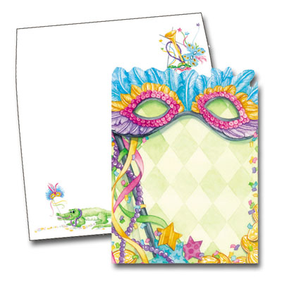 Colorful Mask - This die-cut Mardi Gras / Fat Tuesday invitation is decorated with a feathered and sequined mask, beads, streamers, confetti, and coins, set against a pale diamond background. Bright colors and lots of fun, this card is perfect for your Mardi Gras or masquerade party! The coordinating envelope is decorated with matching masks, a trumpet, and an adorable aligator to complete the New Orleans theme. If ordering blank, you will need to feed the cards bottom first into your printer to print text.  Includes envelope with coordinating design.