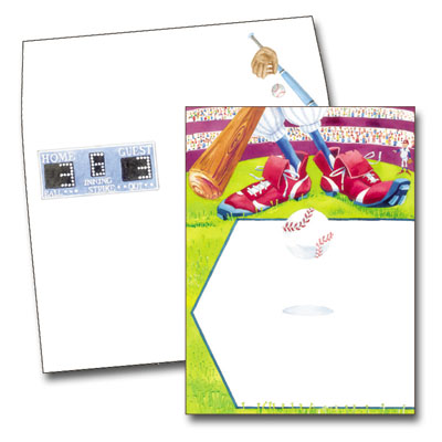 Home Plate - Make an impression with these fun invitation/announcement cards. Premium quality cardstock is inkjet/laser compatible and available blank or personalized.  Coordinating envelope is included.