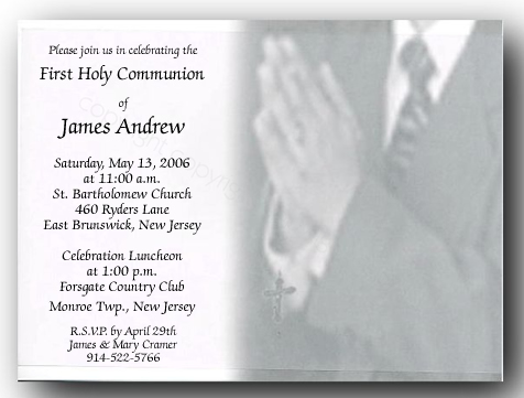 Communion Boy W/ Vellum - This Communion Card is sure to make your childs first holy communion memorable.  The card is made of a gray and white design with a child standing in prayer for his special first communion.  Wearing a dark suit and with his hands together, holding a rosary.  Your personalization is printed on a delicate vellum overlay that is carefully assembled and printed in a black print that is the perfect accent for this one of a kind  first holy communion invitation.  This product sells out Fast so please order early.